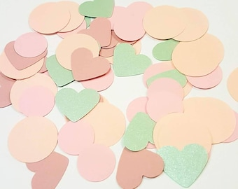 Pink and Green Paper Punch Heart Confetti for baby girl baby shower, bridal shower, table decoration, scrapbooking, and card making