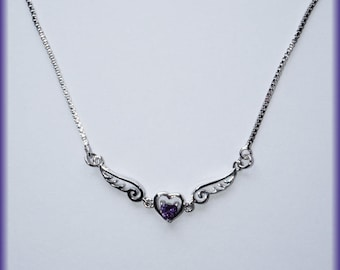 Purple Winged Heart Necklace
