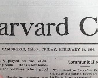 Harvard Crimson Newspaper Publication c.1896