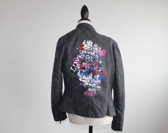 Dark Gray/Black Upcycled Leather Jacket with Flower Deisn