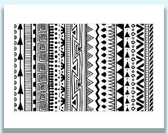 Printable Napkin Rings, Modern, Black and White, Geometric Print, Geometric Pattern, Paper Napkin Rings, Napkin Bands, Printable Party Decor