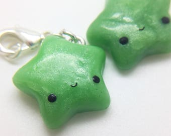 Adorable, handmade, polymer clay, apple green, sparkly, kawaii star charm
