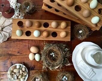 Natural Wooden Egg Holder Tray