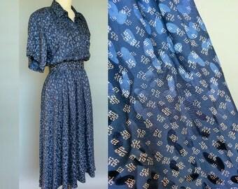 see jane / 1980s does 1950s jack mulqueen blue silk shirt dress / 8 10 12 medium