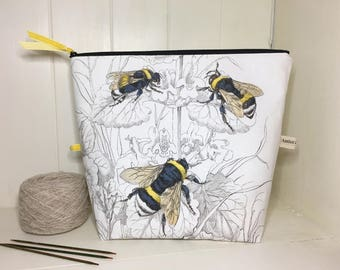 Humble Bumble project bag, knitting and yarn storage, gift for knitter, crochet bag, medium project bag