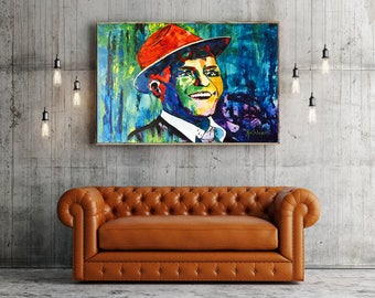 Frank SINATRA Art, Frank Sinatra Painting, Frank Sinatra ORIGINAL Large Abstract Painting Home Decor Modern Art by Kathleen Artist