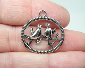 5 Silver Tone Birds on a Branch Charms or Pendants. B-018