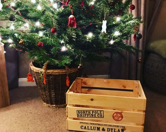 Personalised Wooden Christmas Eve Crate. Christmas Box. Christmas Eve. Personalised Gift.