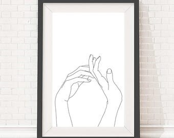 A4 Giclee print minimal artwork, line drawing of womens hands in linear black and white