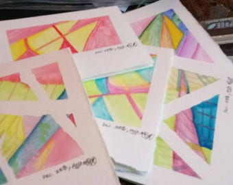 5 watercolor folded note cards + envelopes (23A)