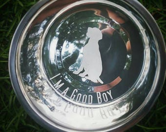 Dog Bowl, Etched, Stainless Steel, Custom Dog Bowl, Personalized Dog Bowl, Dogs, Dog Gift, Dog Lover