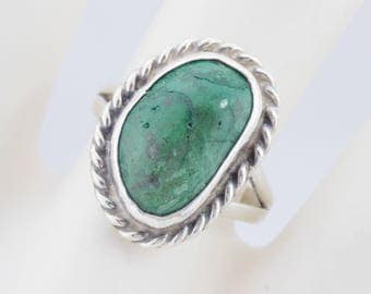 Turquoise Ring, Native American, Green Turquoise Ring, Silver Ring, Sterling Silver Southwestern Bezel Set Green Turquoise Ring Sz 6.5 #553