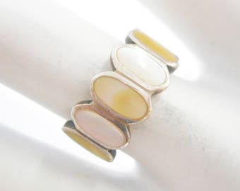 Pearl Ring, Vintage Pearl Ring, Sterling Ring, Vintage Sterling Silver Yellow & White Mother Of Pearl Band Ring Sz 5.75 #3154