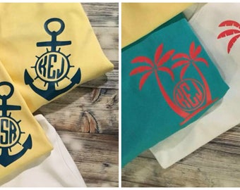 Monogrammed Anchor and Palm Tree T-shirts