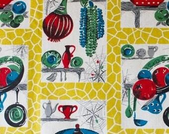 vintage 1950s kitchenalia & cobwebs print cotton interiors fabric