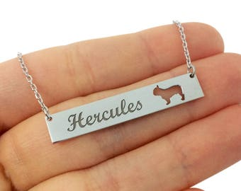 Personalized Dog Name Bar Necklace, Sterling Silver BULLDOG, Bar Name Necklace, Dog Necklace, Custom Bar Necklace, Dog Lovers Necklace