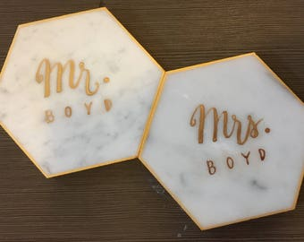 Calligraphy Hexagon Marble Coasters. Set of 4. Wedding Place Cards. Personalized Hexagon Coasters. Wedding Favors.
