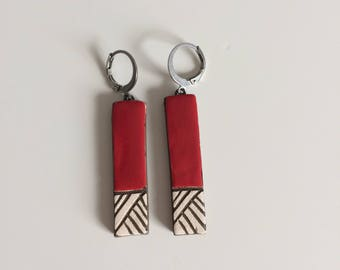 Earrings red graphic ceramic earring, ceramic, red, steel