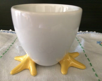 Ceramic Egg Cups (4) White with Yellow Feet