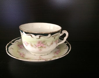 Antique Cup and Saucer with Flowers Early 1900s Unmarked