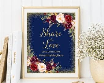 Share The Love Hashtag Sign, Share The Love Wedding Sign, Wedding Instagram Sign, Navy, Burgundy, Marsala, W122