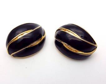 Vintage Clip on 60s Earrings Black Enamel on Gold Tone Metal Three Strand Striped Wave Modernist Mod Retro Classic Feminine Runway Statement