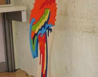Puzzle wooden Parrot, games and decor