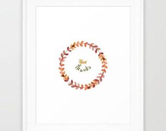 Thanksgiving watercolor illustration / Thanksgiving wreath  / Watercolor wreath / Give thanks /  Digital print / Home decor / Autumn print