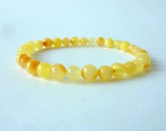 Round Baltic Amber Beads Bracelet. Amber Bracelet Adult.Gold Honey Yelow Amber Bracelet .Natural Amber Jewelry