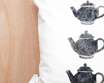 Black Teapot Block Printed Cushion