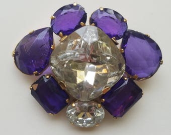 Beautifully Unique 1960's/1970's Chic Retro Purple and Clear Gemstone/Crystal Pin/Brooch. Very Shiny! Wonderful Condition-Great Gift for Her