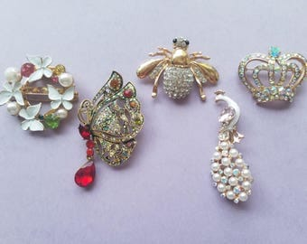 Grandma's Jewelry Box! Rhinestone and Crystal Brooch Pins! Flower/Butterfly Wreath - Butterfly - Honey Bee - Peacock - Crown