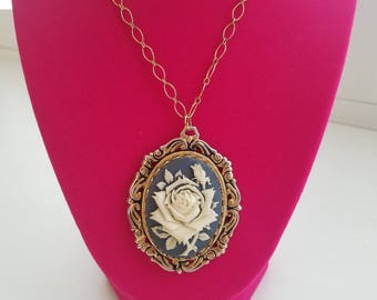 Pretty and Feminine Vintage Filigree Rose Floral Cameo Necklace - Powder Blue and White with Antique Gold Tone Chain-Wonderful Condition!