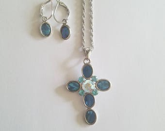 Fabulous 90s Retro Fashion Necklace - Cookie Lee Jewelry Set-Matching Blue Stone Cross Necklace and Earrings. Wonderful Condition!