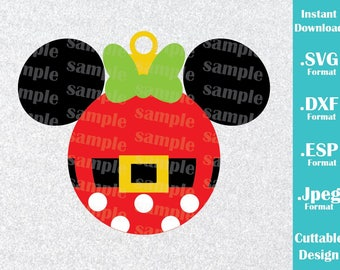 INSTANT DOWNLOAD SVG Disney Inspired Christmas Ornament Minnie Mouse Ears Cutting Machines Svg, Esp, Dxf and Jpeg Format Cricut Silhouette