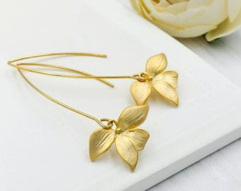 Gold Dangle Earrings. Matte Gold Orchid Flower Long Dangle Earrings. Gold Wedding Bridal, Bridesmaid, Mom, Gift for Her