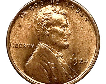 1924 Lincoln Wheat Cent - Red Gem BU / MS RD / Unc - Luster