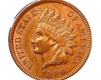 1890 Indian Head Cent - AU / BU - 3 Diamonds