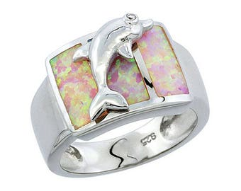 Sterling Silver Pink Opal Dolphin Statement Ring