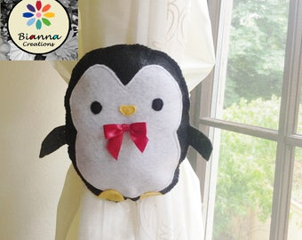 "7x6"" Kawaii Black and White Felt Baby Penguin Curtain Tieback Holdback Decor - nursery room decoration"