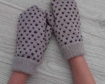 Thrummed mittens Knit mittens Adult thrummed mittens Wool mittens  Wool roving Purple roving Winter mittens Knitted mittens Snow mittens