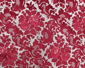 2 2/3 Yards Vintage Red & White CUT VELVET 1970 Victorian French Upholstery Fabric