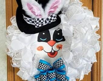 Whimsical Bunny Face Wreath, Easter Wreath, Bunny Decor, Spring Door Decor, Easter Bunny Decor, Spring Wreath, White Bunny Mesh Wreath