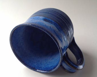 Bright Blue Ribbed Pattern Ceramic Mug, 10 oz. Unique