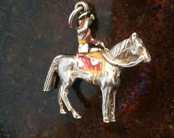 Vintage sterling silver enamel royal guard on horse charm necklace pendant or keychain charm