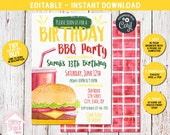 Birthday BBQ Invitation, Backyard BBQ Invitation, Summer Party Invite, Summer Birthday Invitation For Kids, Bbq Birthday Invitation EDITABLE
