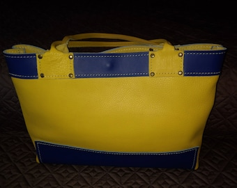 Gold and Royal Leather Tote