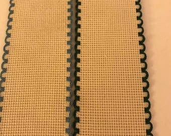 CLEARANCE Vintage Set of 2 counted cross stitch Ribband bookmarks