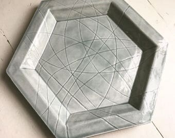 Extra Large Grey Hexagon Ceramic Serving Platter