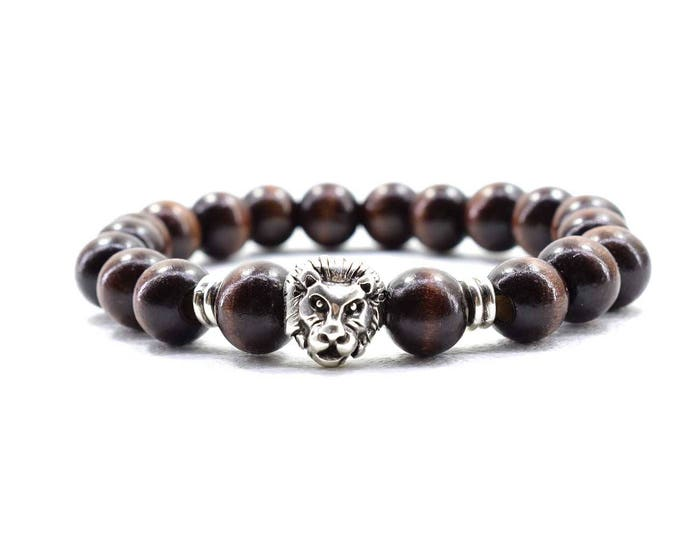 Men's Lion Head Bracelet with Dark Brown Wood Beads.